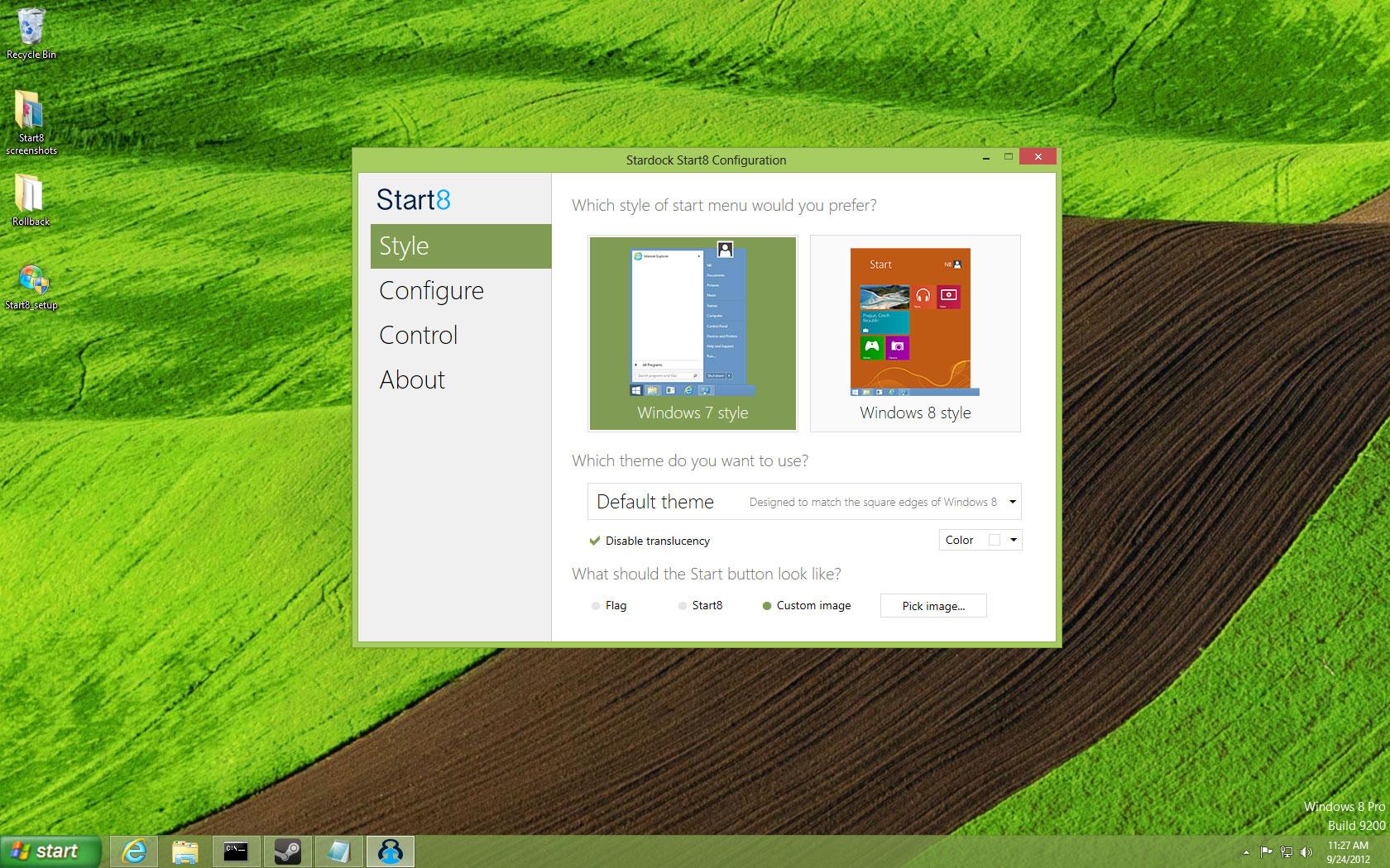 Stardock Windows 8 Start Menu Start Button to Windows 8