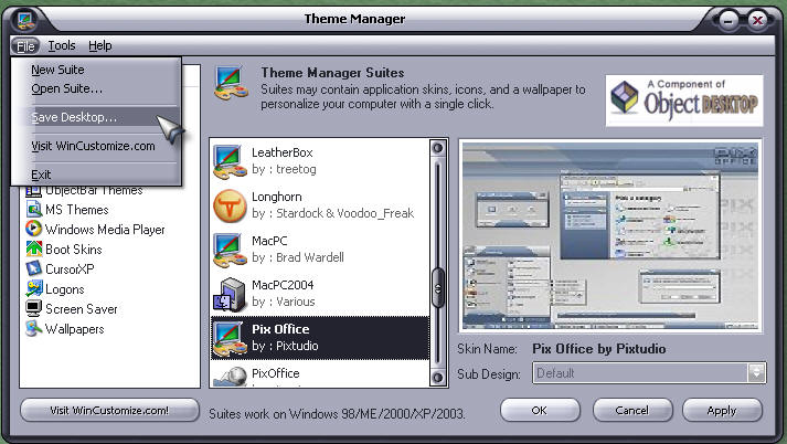 Theme Manager screenshot
