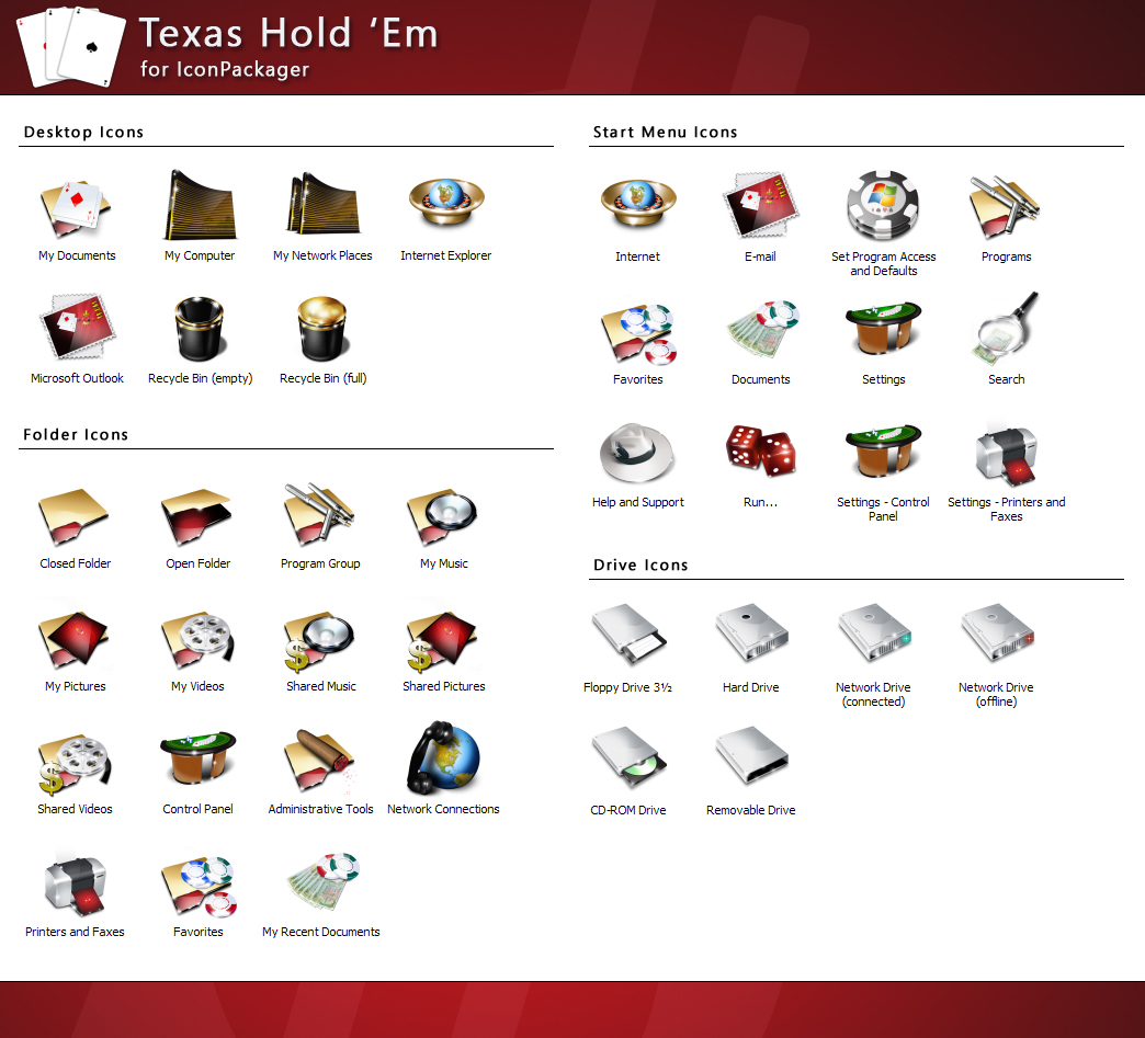 Texas Hold Em comes with a pack of 42 high-quality icons.