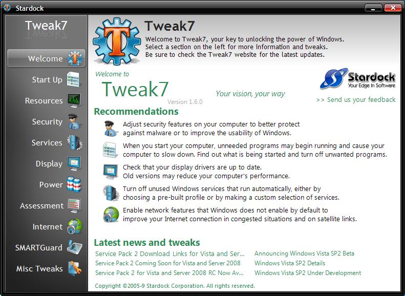 Stardock Tweak7: Optimize Performance on Windows 7