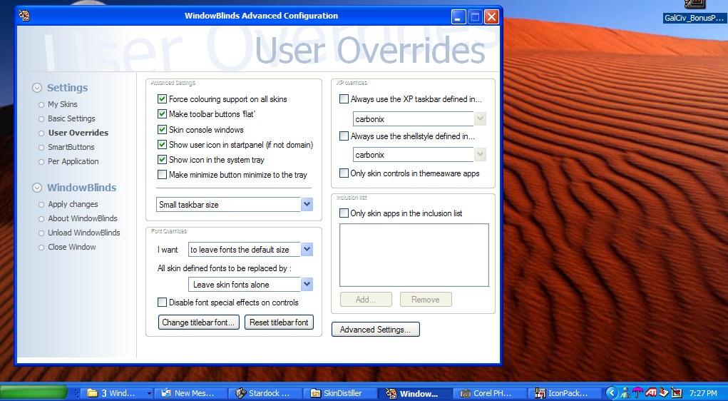 Stardock Windows xp Windowblinds Gives Windows xp
