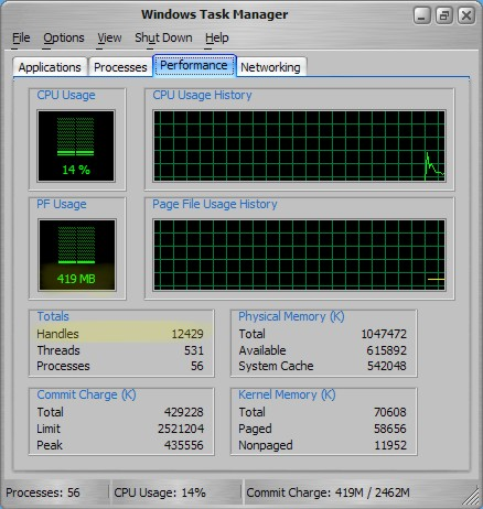 how to see what ram is installed windows xp