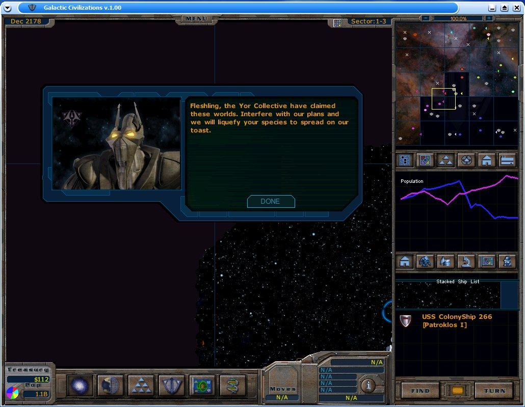 Galactic Civilizations: Gameplay example 1